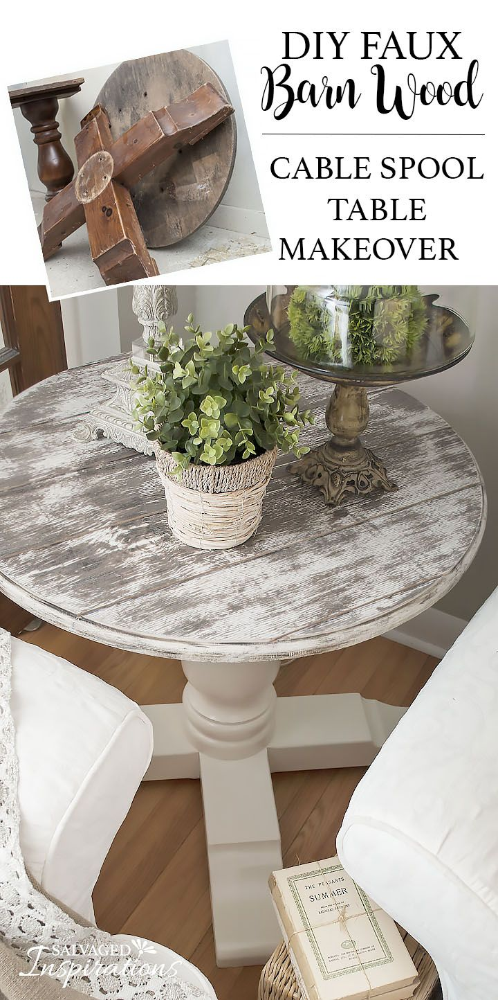 DIY ~ Learn How To Create an Inexpensive Barn Wood Finish. Cable Spool Makeover by Denise at Salvaged Inspirations