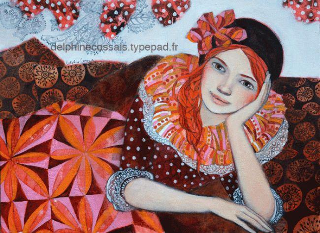 """Delphine Cossais (©2012 galerieannsoco.com) Acrylique sur toile. Possibilité de Diptyque avec la toile """" Vacances Saltinbanques 2 """" Me contacter pour le prix."""