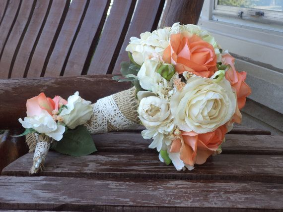 Real Touch Coral and Champagne Burlap Wrapped Rustic Wedding Silk Bridal Bouquet and Matching Grooms Boutonniere / Silk Wedding Flowers on Etsy, $127.00