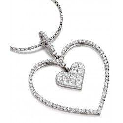 Pandantiv cu Mai Multe Diamante Aur Alb 18kt in Forma de Inima cu Diamante Princess si Rotund Briliant - RDP061W1