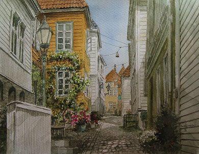 Kunstneren i Bergen: Akvarell fra Knøsesmauet, Bergen