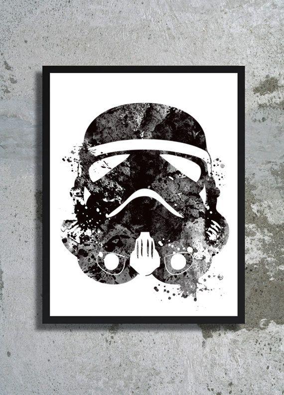 Stormtrooper helmet Star Wars Watercolor Art Print Clone trooper poster Children's wall decor Yoda Star wars poster boy room birthday gift