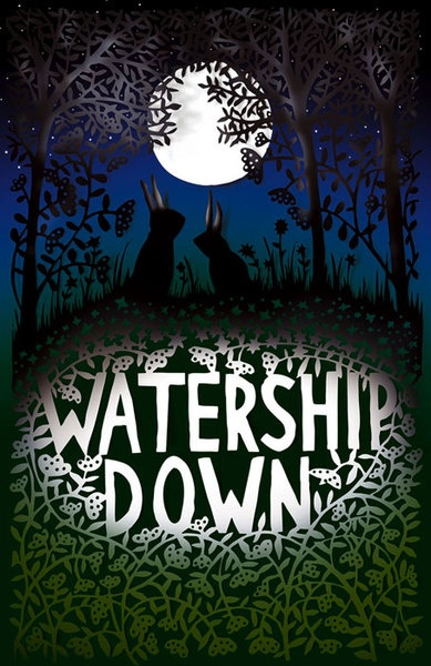 Rob Ryan Watership Down poster  Rob Ryan's cutwork is just beautiful. I'm used to seeing amazing delicate laser-cut work, but Ryan hand cuts these patterns which just makes them all the more incredible.