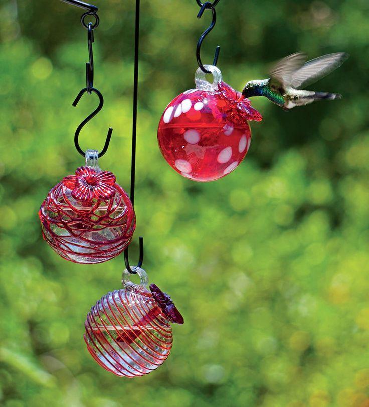 Droplet Hummingbird Feeders, Set of 3 - Glass Hummingbird Feeders from Gardener's Supply in Vermont.