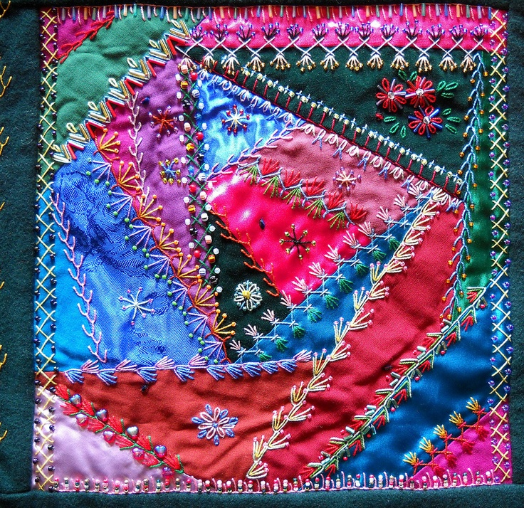 "I ❤ crazy quilting . . . Victorian Crazy Quilt – The Candy Store- For those of you out there that have a sweet tooth for the Victorian Crazy Quilts, hope you like my latest update ""The Candy Store"". I think I am most proud of being able to embroider without a design to go by. I could do whatever I wanted, wherever I wanted. When I was a girl I did a lot of embroidery, but it was always on pre-stamped dishtowels and pillowcases. This did not leave much for the imagination."