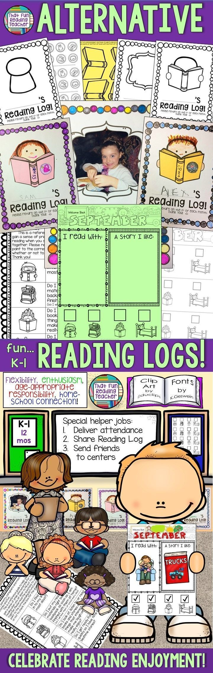 This is one of the ways I promote reading for enjoyment, along with an age-appropriate sense of pride and responsibility for K-1 students. Alternative, fun reading logs - rejigged! $