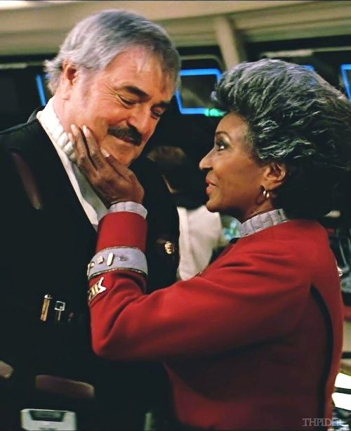 Scotty & Uhura. Original Star Trek. This is how it should be....I have no idea where the new movies Uhura and Spock crap came from.