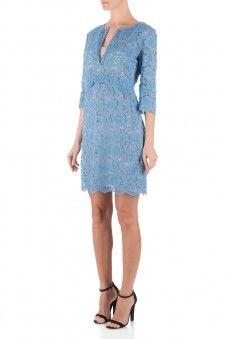 Twin-set Ts622P Blauw kanten jurk Blauw