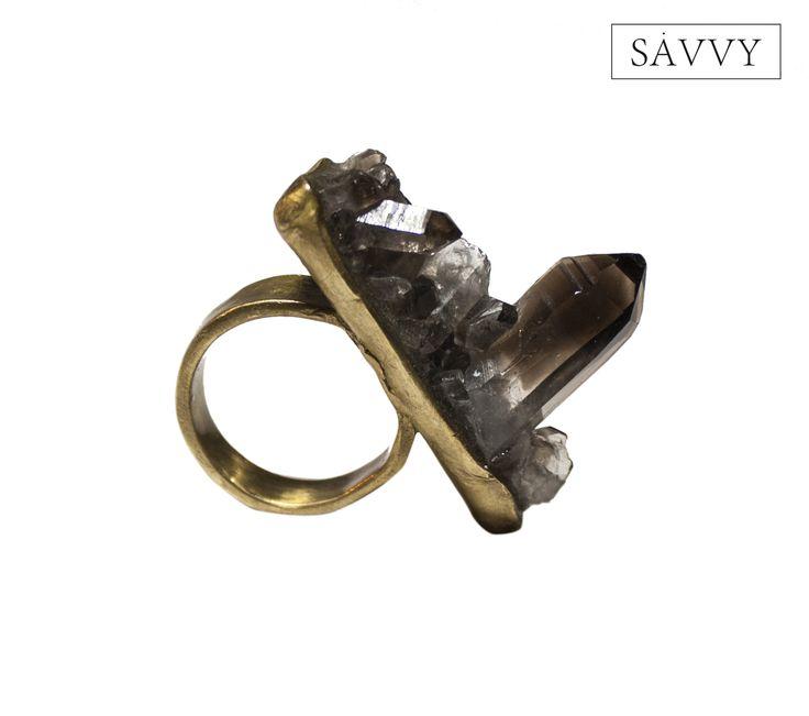 smoky quartz // brass  SAVVY jewellery, Poland  https://www.facebook.com/SAVVYjewellery