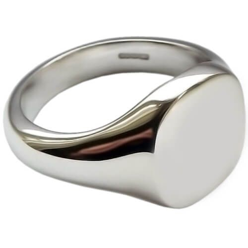 Mens Sterling Silver 12mm Cushion Signet Ring