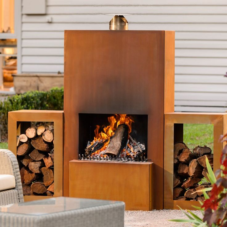 Burnley Corten Fireplace Rust Finish with 2 x Wood Storage Boxes