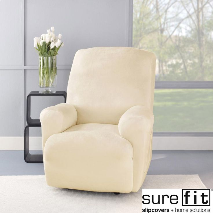 Chair Slipcovers T Cushion Stretch Plush Cream Recliner Slipcover