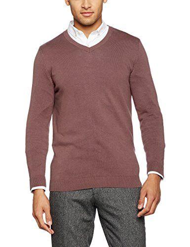 New Look Men's V Neck Jumper, Purple (Light Purple), Larg.