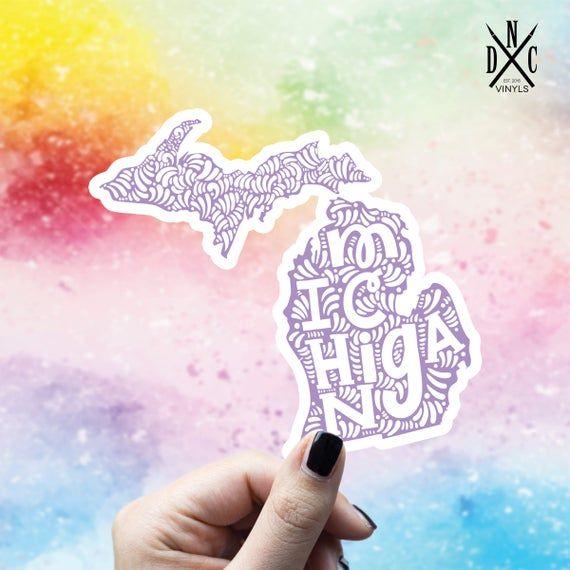 Michigan State Outline Vinyl Sticker, Travel, Laptop Decals, Stickers, Macbook Decal, Stickers Macbook Pro