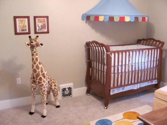 Gender neutral vintage circus nursery decor circus for Canopy above crib