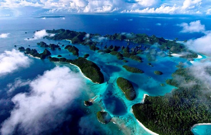 Bird eye view of Raja Ampat, located in Papua, Indonesia. Thanks God for such a beautiful place like this. Heaven on earth!
