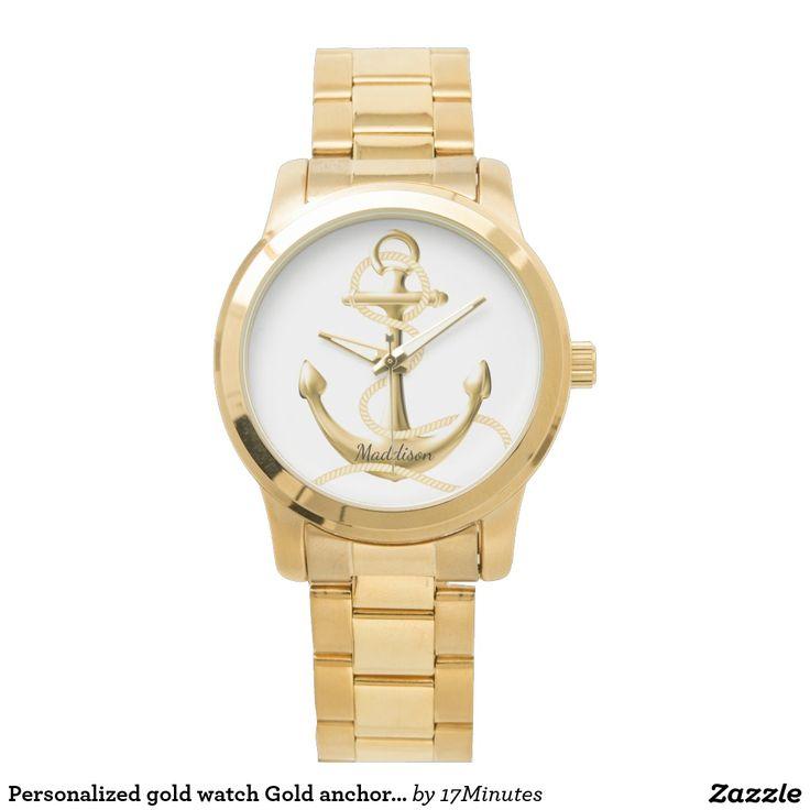 Personalized gold watch Gold anchor Fashion watch. Nautical watch, women's watch. Add your name.