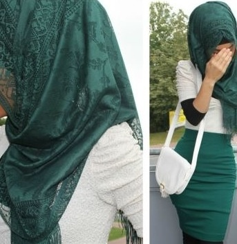 Hijab style... I'm pinning this cuz I like the pencil skirt