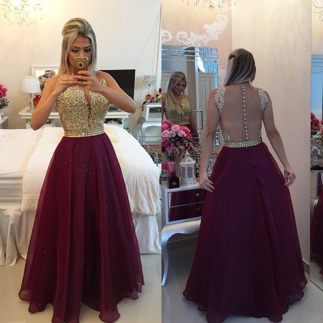 Red Wedding Dresses Meaning: New Arrival A Line Gold Lace Applique Burgundy Prom