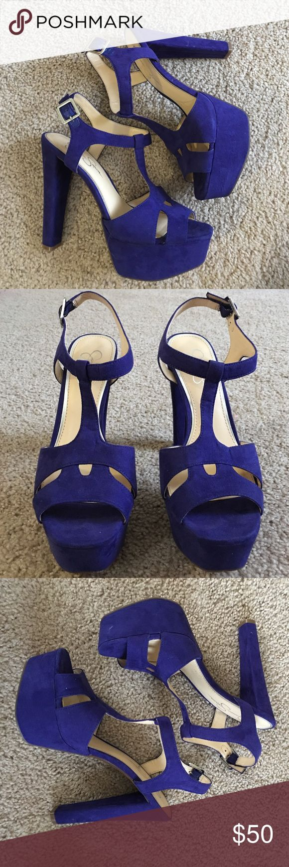 7.5 Jessica Simpson Royal Blue Suede Platform Heel Super cute ritual blue platform heels! This season, Worn once and they are just too impractical for me. No scuffs on the shoe and the soles are still practically new. See pics. Paid $98 for them, fit a 7.5. I love Jessica Simpson Heels bc they have a wider toe box and are relatively comfortable to wear! Jessica Simpson Shoes Platforms