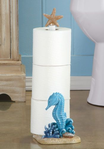 Seabreeze-Seahorse-Toilet-Paper-Holder-w-Starfish-Top-Bathroom-Beach-Decor-New