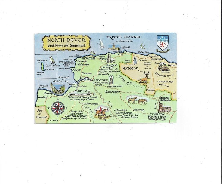 1983 Color Map Postcard of North Devon & Part of Somerset, England, Posted with 12.5 Pence Stamp, Pretty Salmon Watercolor Map by VictorianWardrobe on Etsy