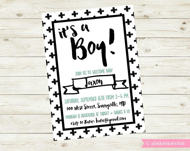It's A Boy Invite - Modern Baby Shower Invitation - Black White Baby Shower - Baby Shower Invite - Baby Shower - Modern Minimal Baby Shower by alittlebitofwhitt on Etsy https://www.etsy.com/listing/539264391/its-a-boy-invite-modern-baby-shower