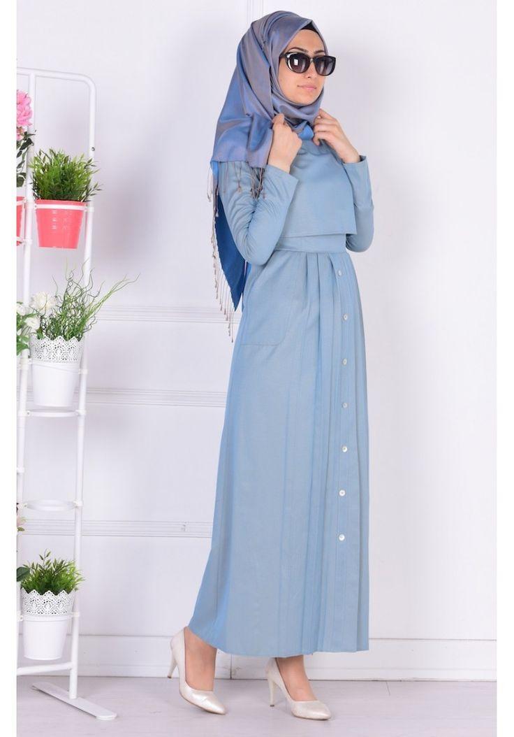 Cepli Pileli Elbise 4059-05 Mavi Sarı