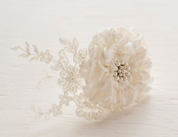 Silk Flower Lace Hairpiece Lace Bridal Floral Headpiece Pearl Detail Vintage Style Wedding Hairpiece Romantic Hair Clip