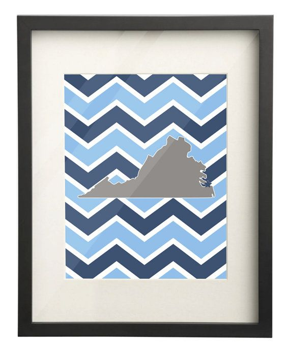 Old Dominion University (ODU) Virginia State Map 8x10 Chevron Print on Etsy, $15.00