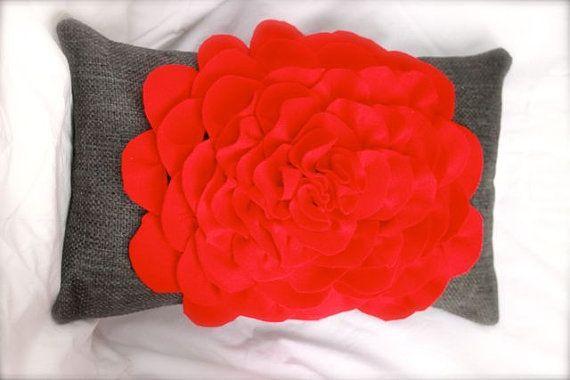 Handmade red felt flower sewn on a grey heavy by FudgieBudgie, $45.00