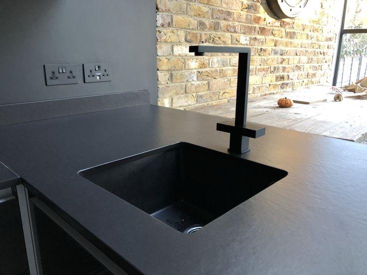Black Kitchen With Matching Black Onyx Worktop Stone Sink And Matt Black Mixer Tap In 2020