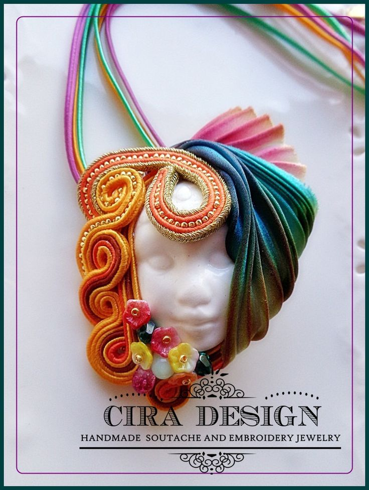 Soutache brooch multicolor with shibori silk yelow, orange and teal and handmade…