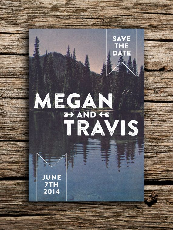 Pine Mountain Lake Vintage Postcard Save the Date // Woodland Wedding Invitation Purple Blue Ombre on Etsy, $35.00