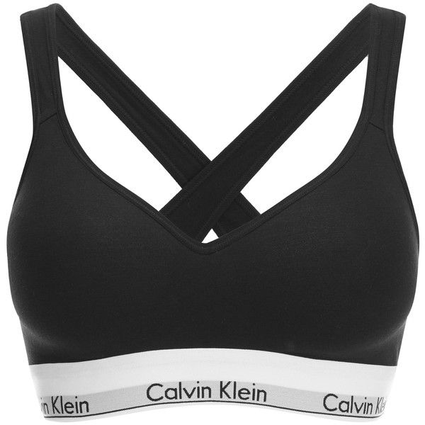 Calvin Klein Women's Modern Cotton Lift Bralette (281750 PYG) ❤ liked on Polyvore featuring intimates, bras, black, calvin klein, sports bra, cotton sports bra, strappy bras and bralette bras