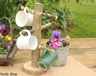 Coffee Mug Holder Cup Tree Rustic Teacup Organizer Tree Kitchen Counter Decor