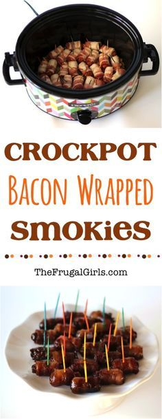 Crockpot Bacon Wrapped Lil Smokies Recipe! ~ from TheFrugalGirls.com ~ these Little Smokies are crazy good!! {the perfect Crock Pot holiday appetizer or party food!} #slowcooker #recipes #thefrugalgirls