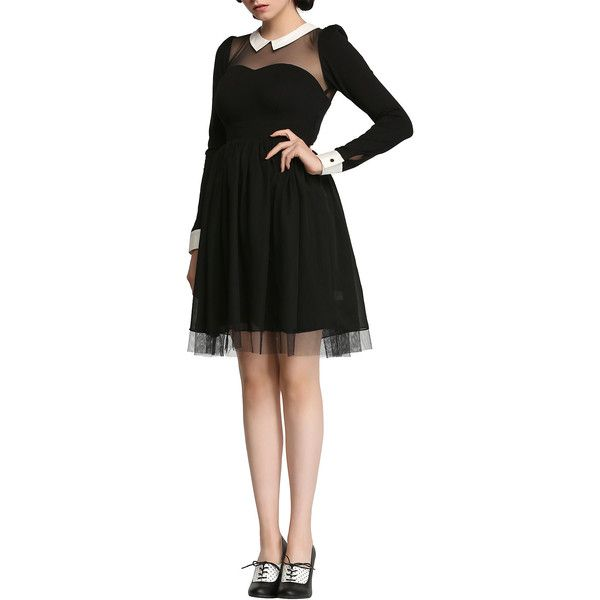 Hot Topic American Horror Story: Murder House Maid Dress ($72) ❤ liked on Polyvore featuring dresses, sweet heart dress, sleeved dresses, sweetheart neck dress, american dress and americana dress