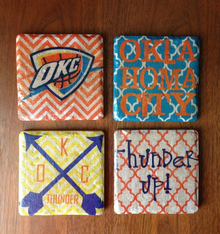 oklahoma city thunder coasters. Maybe if I buy these I can hide the OSU coasters. :)