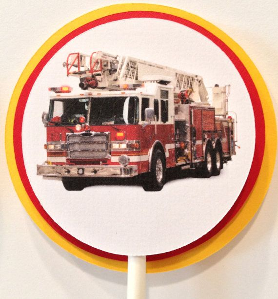 Fire Truck Cupcake Toppers Set of 12 by FitchCraftCreations, $8.00