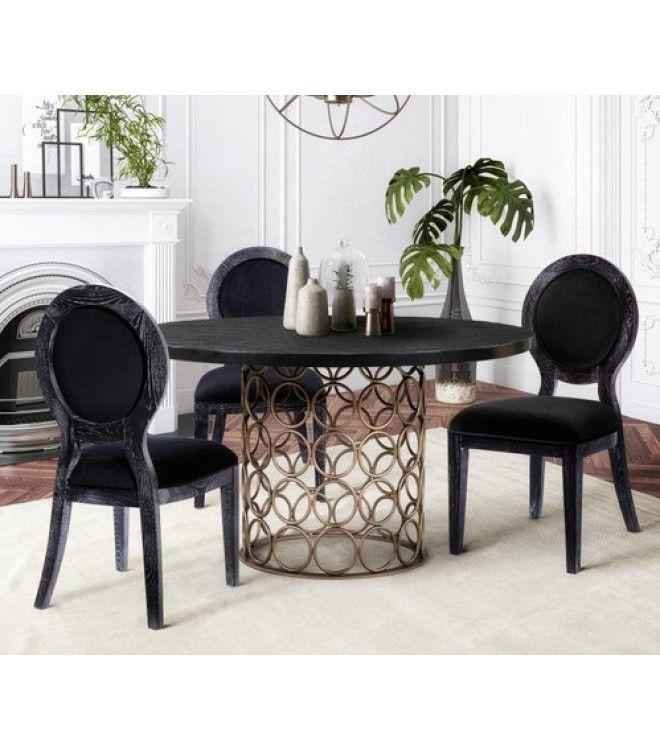 Dark Oak Black Velvet Dining Chairs Set, Black Velvet Dining Room Chairs