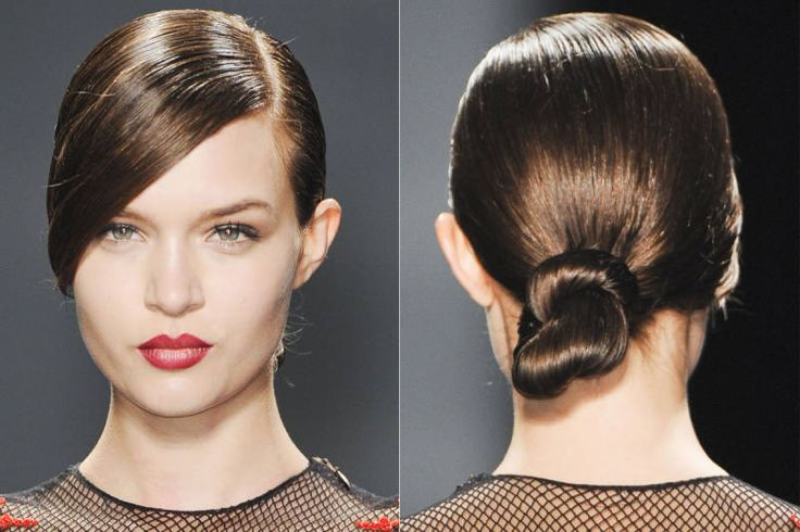 DIY: The Easiest Hairstyle Straight from the Runway — The Low Bun (ELLE; photo: IMAXTREE) (This version of the low bun was seen at Reem Acra.)