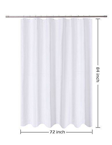 NY HOME Fabric Shower Curtain Liner White Extra Long 72 X 84 Inch Hotel Quality Mildew Resistant Washable Water Repellent Spa Bathroom Curtains With