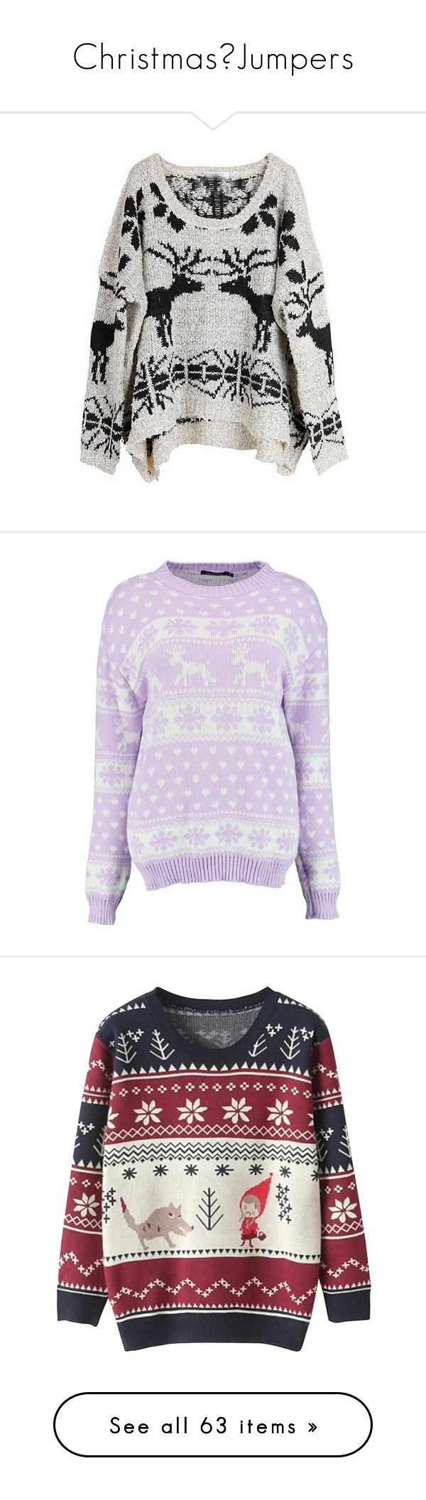 """""""Christmas🎄Jumpers"""" by nattiexo ❤ liked on Polyvore featuring tops, sweaters, shirts, jumpers, beige, batwing sleeve shirt, vintage shirts, christmas shirts, pullover sweaters and pullover shirt"""