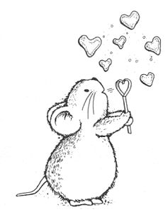 Mouse With Bubble Hearts