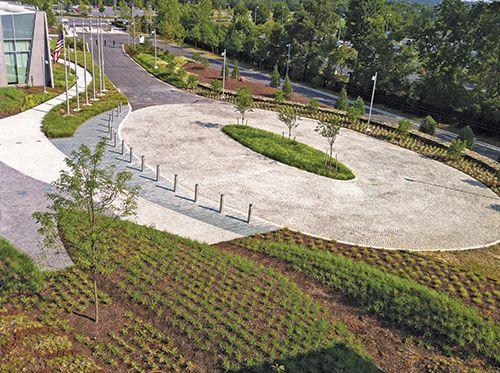 Circular vehicular plaza landscape architecture google for Circular lawn garden designs