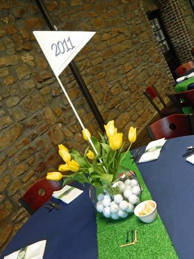 Centerpiece for a golf theme graduation party golf for Golf centerpiece ideas