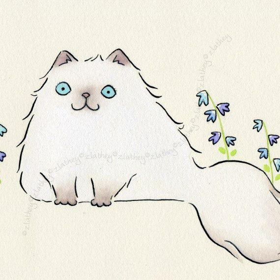 Original 8x6 Watercolor - Pale Himalayan Persian Cat with Blue Flowers
