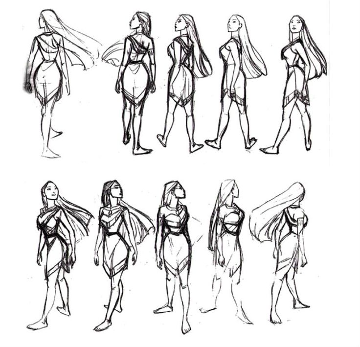 Pocahontas turnaround sheet by Glen Keane ✤ || CHARACTER DESIGN REFERENCES | キャラクターデザイン | çizgi film • Find more at https://www.facebook.com/CharacterDesignReferences