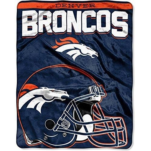NFL Broncos Throw Blanket 55 X 70 Football Themed Bedding Sports Patterned Team Logo Fan Merchandise Athletic Team Spirit Fan Blue Orange White Silk Touch